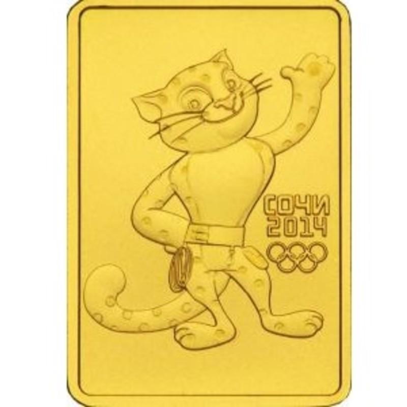 Золотая инвестиционная монета Сочи Леопард (Санкт-Петербургский монетный двор - СПМД), вес чистого золота - 7,78 г (проба 0,999)